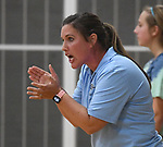 Jerseyville coach Toni Goetten applauds her team after they scored. Jerseyville played at Alton Marquette in a girls volleyball game on Wednesday September 11, 2018.<br /> Tim Vizer/Special to STLhighschoolsports.com