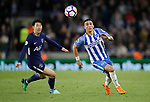 Anthony Kockaert of Brighton outpaces Son Heung-Min of Tottenham during the premier league match at the Amex Stadium, London. Picture date 17th April 2018. Picture credit should read: David Klein/Sportimage