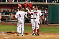 L.J. Kalawaia (5) of the Orem Owlz celebrates with team mates after hitting a two run homer against the Billings Mustangs in Game 2 of the Pioneer League Championship at Home of the Owlz on September 16, 2016 in Orem, Utah. Orem defeated Billings 3-2 and are the 2016 Pioneer League Champions.(Stephen Smith/Four Seam Images)