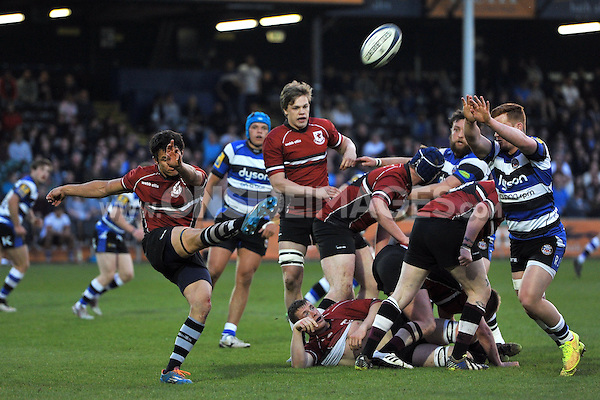 Jake Knight of Somerset County box-kicks the ball clear. End-of-season friendly match, between Bath United and Somerset County Senior XV on April 20, 2015 at the Recreation Ground in Bath, England. Photo by: Patrick Khachfe / Onside Images