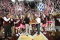 The Mississippi State women's basketball team celebrates clinching the 2017-18 SEC Championship after defeating Texas A&amp;M on Sunday at Humphrey Coliseum. With the historic win, the Bulldogs are now 28-0 and have secured the first regular season SEC Championship in program history. The Bulldogs will be back in action on Thursday at 7 p.m. when they host Auburn in the final regular season home game.<br />  (photo by Blake Williams / &copy; Mississippi State University Athletics)