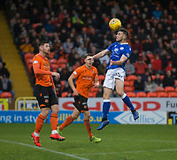 16th November 2019; Tannadice Park, Dundee, Scotland; Scottish Championship Football, Dundee United versus Queen of the South; Darren Lyon of Queen of the South heads the ball watched by Calum Butcher of Dundee United  - Editorial Use