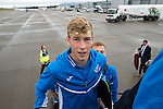 FC Luzern v St Johnstone...16.07.14  Europa League 2nd Round Qualifier<br /> David Wotherspoon board the plane at Edinburgh heading for Basel in Switzerland ahead of tomorrow's game against FC Luzern<br /> Picture by Graeme Hart.<br /> Copyright Perthshire Picture Agency<br /> Tel: 01738 623350  Mobile: 07990 594431