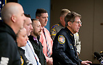 WATERTOWN, CT-012119JS10- Watertown Police Chief John Gavallas, backed by fellow law enforcement answers questions during a press conference Monday at the Watertown police headquarters. Chief Gavallas announced the arrest of 48-year-old William Bayarinas for the murder of 70-year-old Maryann Kibbe-Stanisz in her Oakville home.<br /> Jim Shannon Republican American