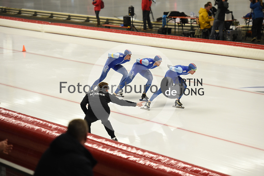 SPEEDSKATING: INZELL: Max Aicher Arena, 08-02-2019, ISU World Single Distances Speed Skating Championships, Team Pursuit Men, Sindre Henriksen, Håvard Bøkko, Sverre Lunde Pedersen, Norway, ©photo Martin de Jong