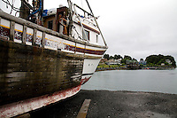 Fishing boat in dry dock. St. Paul Boat Harbor, Kodiak, Alaska