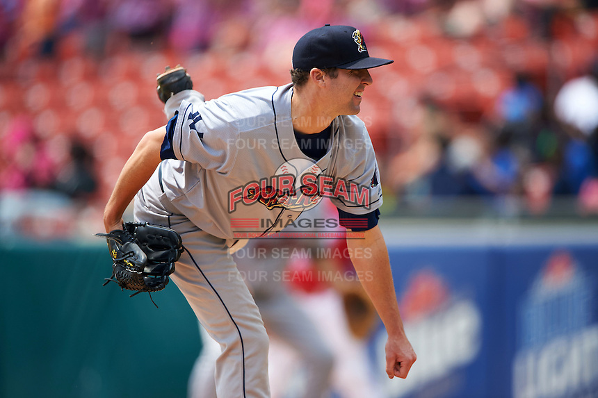 Scranton/Wilkes-Barre RailRiders pitcher Matt Tracy (55) follows through on a pitch during a game against the Buffalo Bisons on June 10, 2015 at Coca-Cola Field in Buffalo, New York.  Scranton/Wilkes-Barre defeated Buffalo 7-2.  (Mike Janes/Four Seam Images)