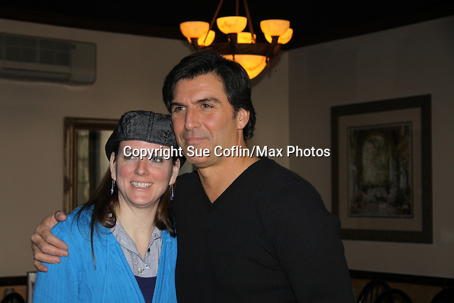 All My Children's Vincent Irizarry poses with Donna Baker as he entertains his fans on February 6, 2011 with a Q&A, antidotes, photos and autographs at Uncle Vinnie's Comedy Club in Point Pleasant, New Jersey. (Photo by Sue Coflin/Max Photos)