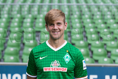 29.07.2013. Bremen, Germany.  The picture shows German Soccer Bundesliga club SV Werder Bremen's Niclas Fuellkrug during the official photocall for the season 2013-14 in Bremen.