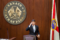 TALLAHASSEE, FLA. 11/22/16-Outgoing Senate President Andy Gardiner, R-Orlando, salutes as he leaves the podium for the last time during the 2016 organizational session at the Capitol in Tallahassee.<br /> <br /> COLIN HACKLEY PHOTO