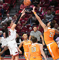 NWA Democrat-Gazette/J.T. WAMPLER Arkansas' Bailey Zimmerman takes a shot while Tennessee's Mercedes Russell defends Thursday Feb. 8, 2018 at Bud Walton Arena in Fayetteville. The Razorbacks lost 90-85.