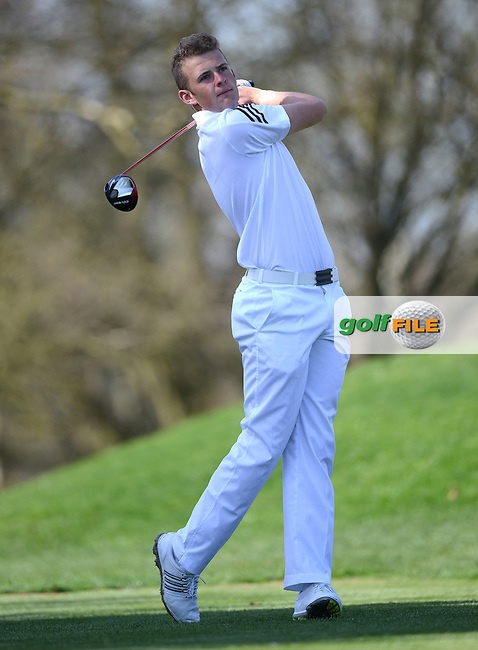 Harry Hall tees off during the Peter McEvoy Trophy, Copt Heath Golf Club, 1220 Warwick Road, Knowle, Solihull, West Midlands, B93 9LN, England.<br /> Picture: Richard Martin Roberts / Golffile