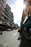 A view down a street on Wednesday May 1st 2013 in Sandakan, Malaysia. (Photo by Brian Garfinkel)