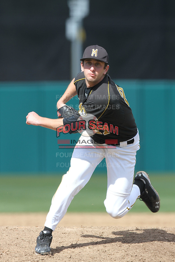 Phil McCormick, #27, of the Missouri Tigers pitches against the North Carolina Tar Heels at Dedeaux Field on February 20, 2011 in Los Angeles,California. Photo by Larry Goren/Four Seam Images