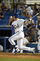 Dunedin Blue Jays third baseman Mitch Nay (28) at bat during a game against the Clearwater Threshers on April 10, 2015 at Florida Auto Exchange Stadium in Dunedin, Florida.  Clearwater defeated Dunedin 2-0.  (Mike Janes/Four Seam Images)