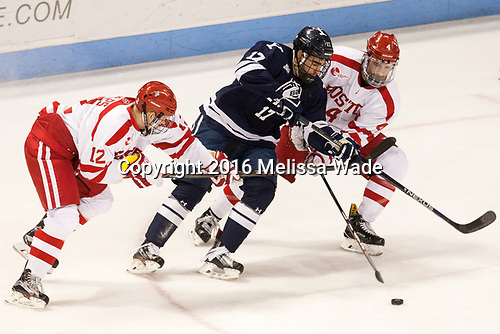 Chase Phelps (BU - 12), Frankie DiChiara (Yale - 17), Brandon Hickey (BU - 4) The Boston University Terriers defeated the visiting Yale University Bulldogs 5-2 on Tuesday, December 13, 2016, at the Agganis Arena in Boston, Massachusetts.