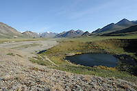 A summer evening view of the Hulahula River near its source in Alaska's Brooks Range in ANWR includes a pingo, a small pond formed by melting permafrost.