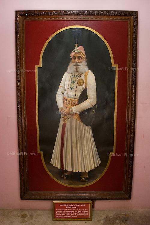 26.11.2010 Udaipur (Rajasthan)<br /> <br /> Painting of maharaja in  the city palace.<br /> <br /> Peinture d'un maharaja dans le palais de la ville.