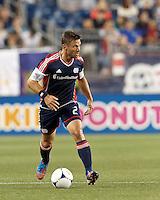 New England Revolution defender Flo Lechner (2) brings the ball forward. In a Major League Soccer (MLS) match, the New England Revolution tied Philadelphia Union, 0-0, at Gillette Stadium on September 1, 2012.