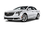 Stock pictures of low aggressive front three quarter view of a 2018 Cadillac XTS Luxury 4 Door Sedan