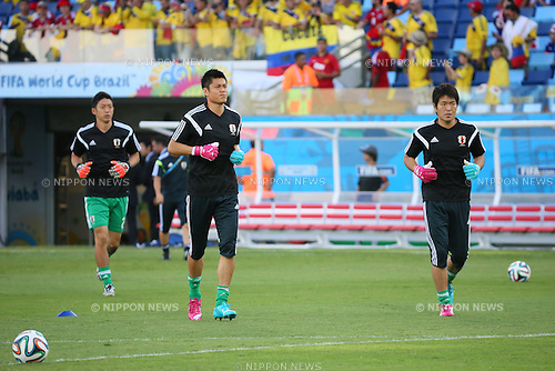 (L to R) <br /> Shuichi Gonda, <br /> Eiji Kawashima, <br /> Shusaku Nishikawa (JPN), <br /> JUNE 24, 2014 - Football /Soccer : <br /> 2014 FIFA World Cup Brazil <br /> Group Match -Group C- <br /> between Japan 1-4 Colombia <br /> at Arena Pantanal, Cuiaba, Brazil. <br /> (Photo by YUTAKA/AFLO SPORT)