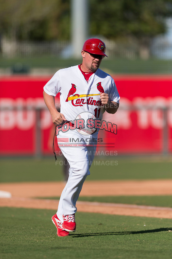 Surprise Saguaros manager Stubby Clapp (11), of the St. Louis Cardinals organization, during an Arizona Fall League game against the Peoria Javelinas at Surprise Stadium on October 17, 2018 in Surprise, Arizona. (Zachary Lucy/Four Seam Images)
