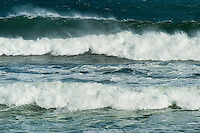 Cresting ocean waves.