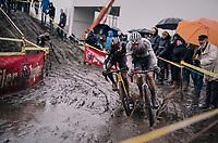 CX World Champion Mathieu Van Der Poel (NED/Correndon-Circus) brushing along Quinten Hermans (BEL/Telenet Fidea Lions)<br /> <br /> Superprestige cyclocross Hoogstraten 2019 (BEL)<br /> Elite Men's Race<br /> <br /> &copy;kramon