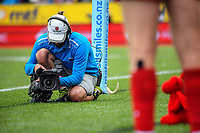 A Skysport cameraman shoots the Wales bench. Day one of the 2018 HSBC World Sevens Series Hamilton at FMG Stadium in Hamilton, New Zealand on Saturday, 3 February 2018. Photo: Dave Lintott / lintottphoto.co.nz