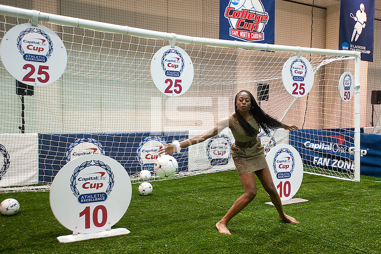INDIANAPOLIS, IN - APRIL 1, 2011: Chiney Ogwumike guards against soccer goals at the Indianapolis Convention Center at Tourney Town during the NCAA Final Four in Indianapolis, IN on April 1, 2011.