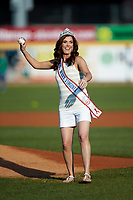 Mrs. West Virginia America 2018 Kassie Lawless throws a ceremonial first pitch prior to the South Atlantic League game between the Lexington Legends and the West Virginia Power at Appalachian Power Park on June 7, 2018 in Charleston, West Virginia. The Power defeated the Legends 5-1. (Brian Westerholt/Four Seam Images)