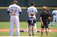 Round Rock pitcher Luke Jackson (77) during the singing of National Anthem before a baseball game, Sunday May 03, 2015 in Round Rock, Tex. Express sweep four game series by defeating Sounds 5-4. (Mo Khursheed/TFV Media via AP images)