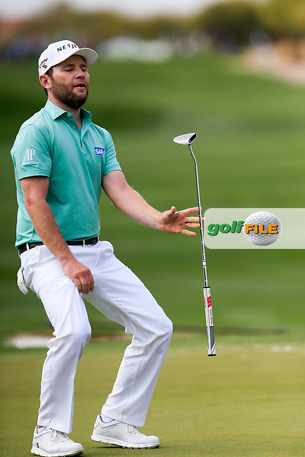 Brandon Grace (RSA) on the 9th during the 3rd round of the Waste Management Phoenix Open, TPC Scottsdale, Scottsdale, Arisona, USA. 02/02/2019.<br /> Picture Fran Caffrey / Golffile.ie<br /> <br /> All photo usage must carry mandatory copyright credit (© Golffile | Fran Caffrey)