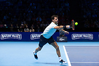 Grigor Dimitrov of Bulgaria (6) in action during his victory over Dominic Thiem of Austria (4) in their Pete Sampras group match today - Dimitrov def Thiem 6-3, 5-7, 7-5<br /> <br /> Photographer Craig Mercer/CameraSport<br /> <br /> International Tennis - Nitto ATP World Tour Finals - O2 Arena - London - Day 2  - Monday 13th November 2017<br /> <br /> World Copyright &copy; 2017 CameraSport. All rights reserved. 43 Linden Ave. Countesthorpe. Leicester. England. LE8 5PG - Tel: +44 (0) 116 277 4147 - admin@camerasport.com - www.camerasport.com