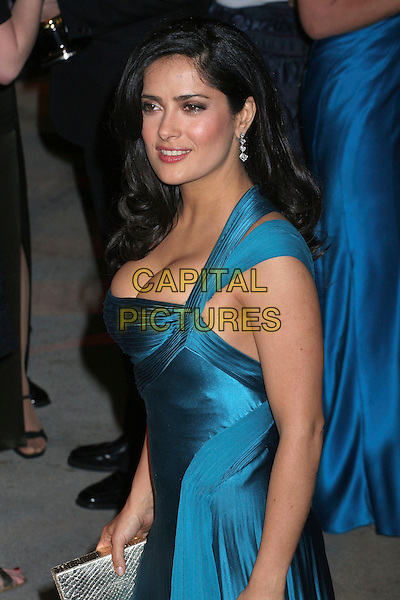 SALMA HAYEK.2006 Vanity Fair Oscar Party held at Morton's, West Hollywood, California, USA, 05 March 2006..oscars half length teal blue dress versace satin.Ref: ADM/RE.www.capitalpictures.com.sales@capitalpictures.com.©Russ Elliot/AdMedia/Capital Pictures.