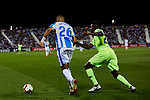 CD Leganes's Youssef En-Nesyri and FC Barcelona's Nelson Semedo during La Liga match between CD Leganes and FC Barcelona at Butarque Stadium in Madrid, Spain. September 26, 2018. (ALTERPHOTOS/A. Perez Meca)