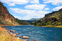 Catch and release trout fishing Green river Utah. Spectacular view of the river.