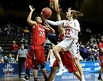 SIOUX FALLS, SD - MARCH 19: Mika Wester #32 from Carson Newman takes the ball to the basket against Kyvin Goodin-Rogers #22 from Union during their quarterfinal game at the 2018 Elite Eight Women's NCAA DII Basketball Championship at the Sanford Pentagon in Sioux Falls, SD. (Photo by Dave Eggen/Inertia)(Photo by Dave Eggen/Inertia)