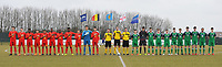 20180308 - TUBIZE , BELGIUM : Northern Ireland's team with Aidan Steele (14)   Michael Glynn (5)   Callum Taylor (12)   John Mc Givern (4)   Aaron Brown (18)   Trai Hume (16)   Carl Johnston (8)   Jack Scott (2)   Dylan Boyle (6 and captain)   Euan Deveney (3)   Barry Baggley Crowe (11)  and Belgian team with Fostave Mabani (20)   Mathias De Wolf (22)   Jeremy Landu (14)   Marco Kana (17)   Senne Lammens (12 and goalkeeper)   Dragan Lausberg (15 and captain)   Maxime Cavelier (21)   Marouane Balouk (18)   Bram Van Laere (13)   Yannick Leliendal (16)   Anouar Ait El Hadj (19) pictured during a friendly game between the teams of the Belgian Red Devils Under 16 and Northern Ireland Under 16 at the Belgian Football Centre in Tubize , Thursday 8 th March 2018 ,  PHOTO Dirk Vuylsteke | Sportpix.Be