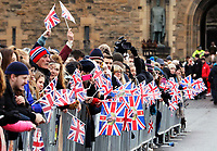 public waiting for Prince Harry and Ms. Meghan Markle arrive at the Esplanade in front of the Edinburgh Castle in Edinburgh, on February 13, 2018, on their first official joint visit to Scotland Photo: Albert Nieboer / Netherlands OUT / Point De Vue Out - NO WIRE SERVICE - Photo: Albert Nieboer/RoyalPress/dpa /MediaPunch ***FOR USA ONLY***