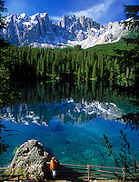 Italy, South Tyrol, Alto Adige, Dolomites, Welschnofen: Lago di Carezza and Latemar Mountain Range