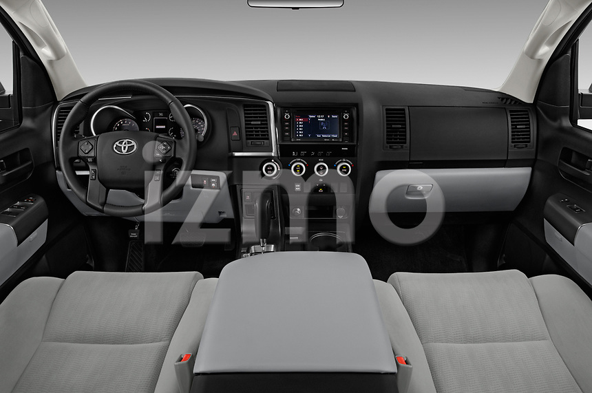 Stock photo of straight dashboard view of a 2018 Toyota sequoia sr 5 Door SUV