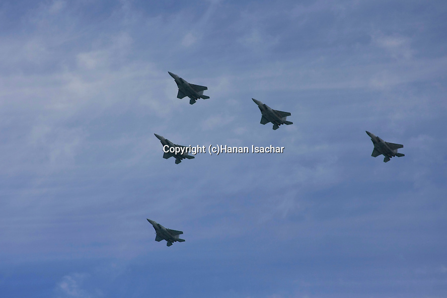 Israel, Tel Aviv-Yafo, the Air Force show on Independence Day, F-15 fighter jets