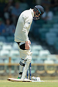 November 4th 2017, WACA Ground, Perth Australia; International cricket tour, Western Australia versus England, day 1; James Vince adjusts his thigh pad during his innings