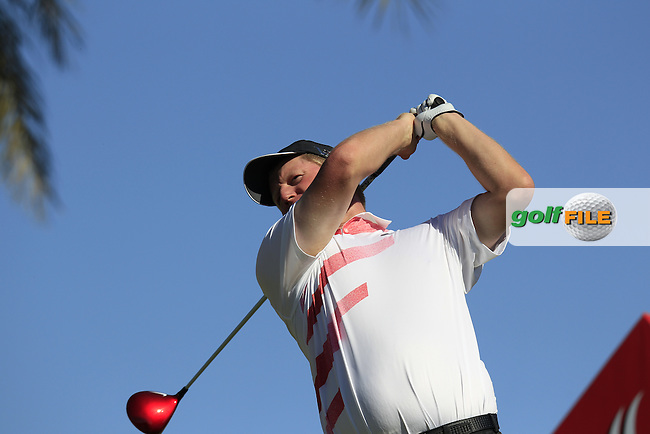 Richard Finch (ENG) tees off the 11th tee during Friday's Round 2 of the Abu Dhabi HSBC Golf Championship at Abu Dhabi Golf Club, 18th January 2013 (Photo Eoin Clarke/www.golffile.ie)
