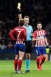 Atletico de Madrid's Antoine Griezmann have words with referee Mattias Gestranius during UEFA Champions League match between Atletico de Madrid and AS Monaco at Wanda Metropolitano Stadium in Madrid, Spain. November 28, 2018. (ALTERPHOTOS/A. Perez Meca)