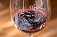 Wine glasses. Clos Saint Julien, Saint Emilion, Bordeaux, France