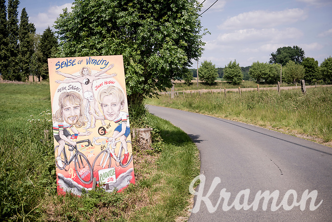 cycling folklore art by the roadside in the Pladutsestraat in Maarkedal<br /> <br /> cycling hotspots & impressions in the Vlaamse Ardennen (Flemish Ardennes) along the 181km Spartacus (Chasing Cancellara) cycling route<br /> <br /> Cycling In Flanders <br /> Flanders Tourist Board<br /> <br /> ©kramon