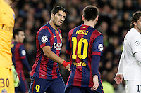 FC Barcelona's Luis Suarez (l) and Leo Messi during Champions League 2014/2015 match.December 10,2014. (ALTERPHOTOS/Acero) /NortePhoto