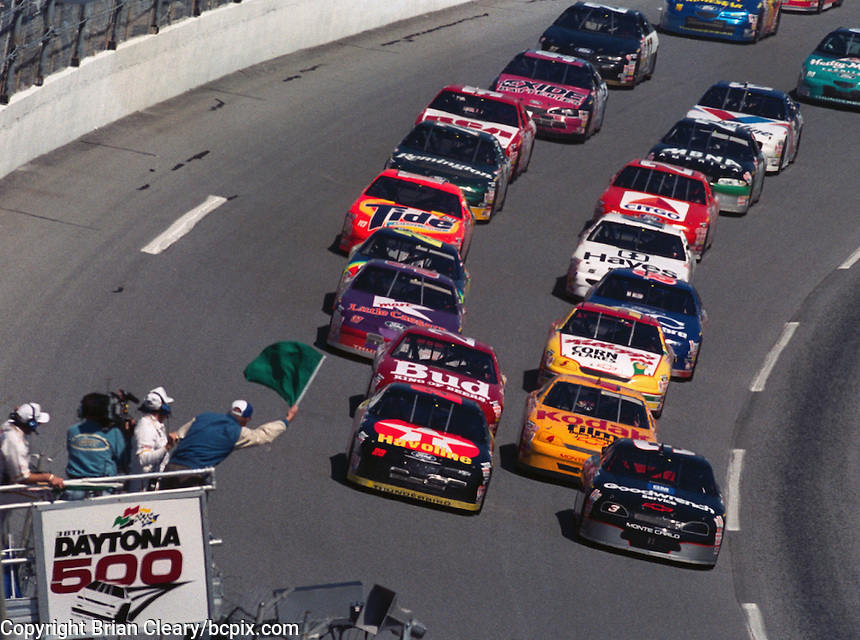 Dale Earnhardt leads the field to the green flag to start the 1996 Daytona 500. (Photo by Brian Cleary/www.bcpix.com)